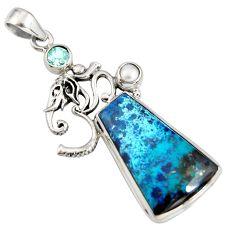 20.86cts natural blue shattuckite topaz 925 silver om symbol pendant r8420