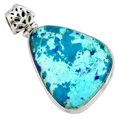 20.46cts natural blue shattuckite 925 sterling silver pendant jewelry r8435