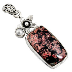 14.90cts natural pink firework obsidian pearl 925 silver flower pendant r8451