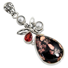 17.20cts natural pink firework obsidian silver angel wings fairy pendant r8454