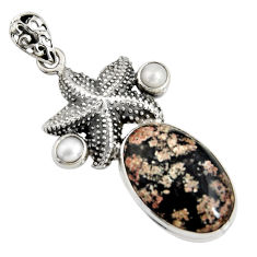 925 silver 18.17cts natural pink firework obsidian pearl star fish pendant r8455