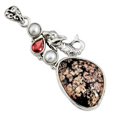 925 silver 19.00cts natural pink firework obsidian fairy mermaid pendant r8458