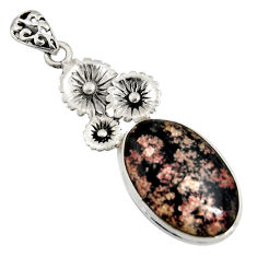 925 sterling silver 14.47cts natural pink firework obsidian flower pendant r8460
