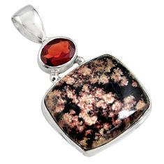 14.72cts natural black firework obsidian garnet 925 silver pendant r8469