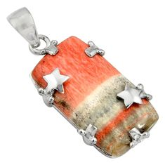 925 sterling silver 29.09cts natural orange celestobarite star pendant r8484