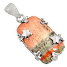 25.78cts natural orange celestobarite 925 sterling silver star pendant r8486