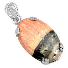 925 sterling silver 18.88cts natural orange celestobarite pendant jewelry r8494