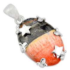 925 sterling silver 26.19cts natural orange celestobarite star pendant r8498