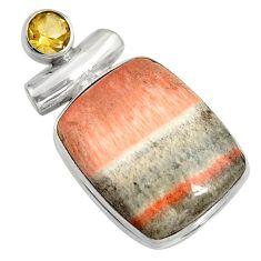 925 sterling silver 24.38cts natural orange celestobarite citrine pendant r8504