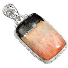 19.23cts natural orange celestobarite 925 sterling silver pendant jewelry r8508