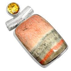 25.60cts natural orange celestobarite citrine 925 sterling silver pendant r8511