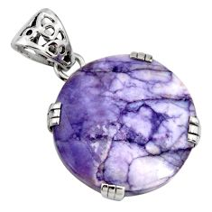 19.60cts natural purple tiffany stone 925 sterling silver pendant jewelry r8513