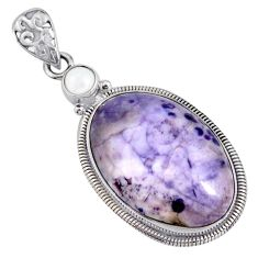 19.99cts natural purple tiffany stone pearl 925 sterling silver pendant r8514