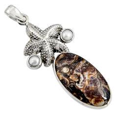 20.86cts natural turritella fossil snail agate silver star fish pendant r8524