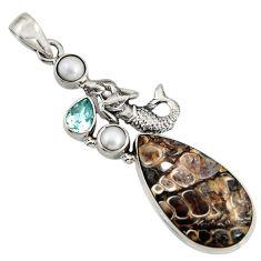 Natural turritella fossil snail agate 925 silver fairy mermaid pendant r8526