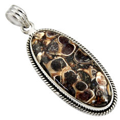 18.15cts natural brown turritella fossil snail agate 925 silver pendant r8527