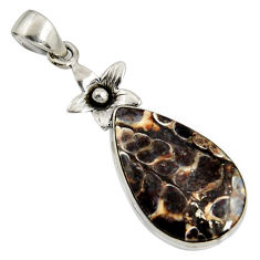 14.23cts natural brown turritella fossil snail agate silver flower pendant r8532