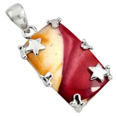 19.60cts natural brown mookaite 925 sterling silver pendant jewelry r8546
