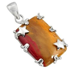 22.48cts natural brown mookaite 925 sterling silver pendant jewelry r8549