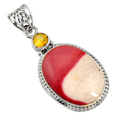 22.59cts natural brown mookaite citrine 925 sterling silver pendant r8552