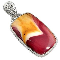 925 sterling silver 28.73cts natural brown mookaite pendant jewelry r8554