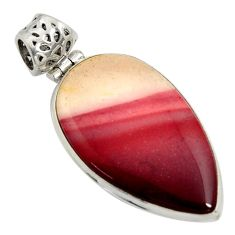 22.05cts natural brown mookaite 925 sterling silver pendant jewelry r8568