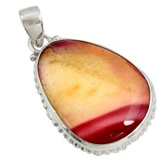 21.48cts natural brown mookaite 925 sterling silver pendant jewelry r8569