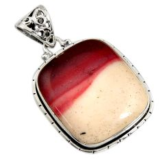 25.00cts natural brown mookaite 925 sterling silver pendant jewelry r8571