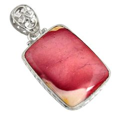 23.30cts natural brown mookaite 925 sterling silver pendant jewelry r8573
