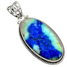 28.73cts natural blue turquoise azurite 925 sterling silver pendant r8588