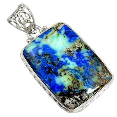 32.14cts natural blue turquoise azurite 925 sterling silver pendant r8593