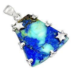 925 sterling silver 36.69cts natural blue turquoise azurite star pendant r8594