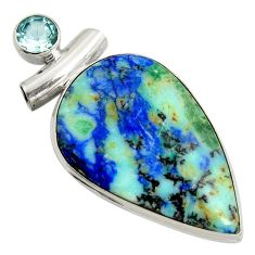 925 sterling silver 30.88cts natural blue turquoise azurite topaz pendant r8598