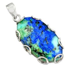 30.39cts natural blue turquoise azurite 925 sterling silver pendant r8600