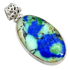 925 sterling silver 31.53cts natural blue turquoise azurite oval pendant r8615