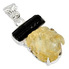 18.98cts scapolite tourmaline rough 925 sterling silver pendant jewelry r8691