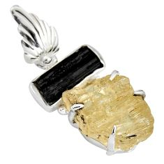 18.98cts scapolite tourmaline rough 925 sterling silver pendant jewelry r8697