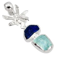 Natural aquamarine rough sapphire rough silver angle wing fairy pendant r8804