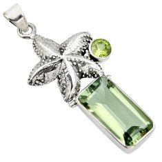925 silver 8.70cts natural green amethyst peridot star fish pendant r9083