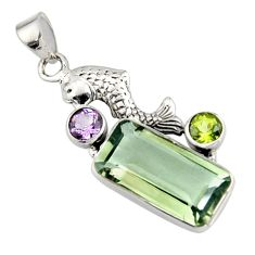8.83cts natural green amethyst amethyst 925 sterling silver fish pendant r9084
