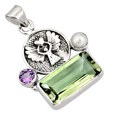 8.42cts natural green amethyst amethyst pearl 925 sterling silver pendant r9087