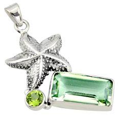 7.83cts natural green amethyst peridot 925 silver star fish pendant r9091
