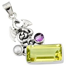925 silver 8.40cts natural lemon topaz amethyst pearl dragon pendant r9092