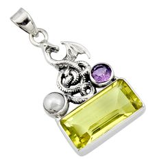8.12cts natural lemon topaz amethyst pearl 925 silver dragon pendant r9094