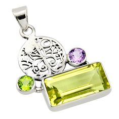 8.83cts natural lemon topaz amethyst 925 silver tree of life pendant r9097