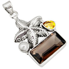 925 silver 8.42cts brown smoky topaz citrine pearl star fish pendant r9104