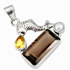 8.14cts brown smoky topaz citrine pearl 925 sterling silver fish pendant r9110