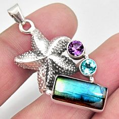 6.62cts natural blue labradorite amethyst 925 silver star fish pendant r9119