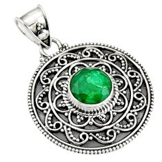 3.16cts natural green emerald 925 sterling silver pendant jewelry r9301