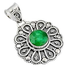 3.13cts natural green emerald 925 sterling silver pendant jewelry r9302